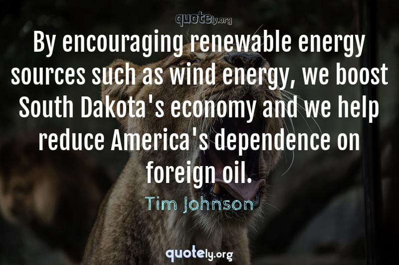 By encouraging renewable energy sources such as wind energy, we boost South Dakota's economy and we help reduce America's dependence on foreign oil. by Tim Johnson
