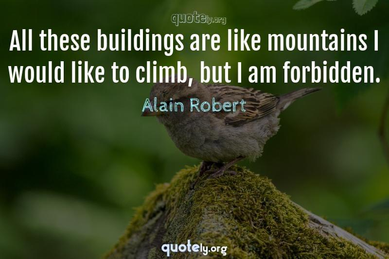 All these buildings are like mountains I would like to climb, but I am forbidden. by Alain Robert
