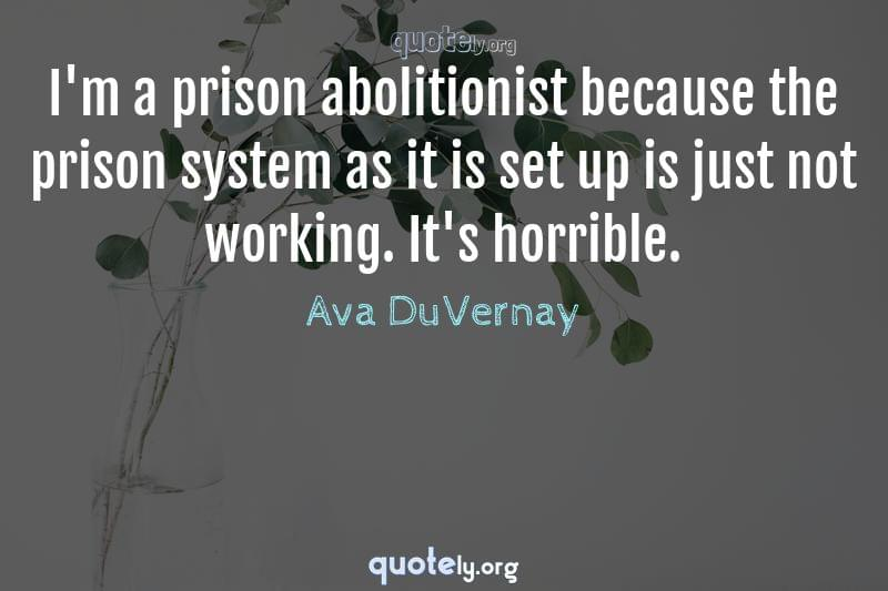 I'm a prison abolitionist because the prison system as it is set up is just not working. It's horrible. by Ava DuVernay