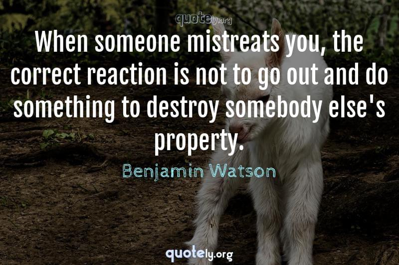 When someone mistreats you, the correct reaction is not to go out and do something to destroy somebody else's property. by Benjamin Watson