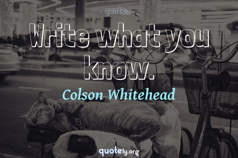 Write what you know. by Colson Whitehead