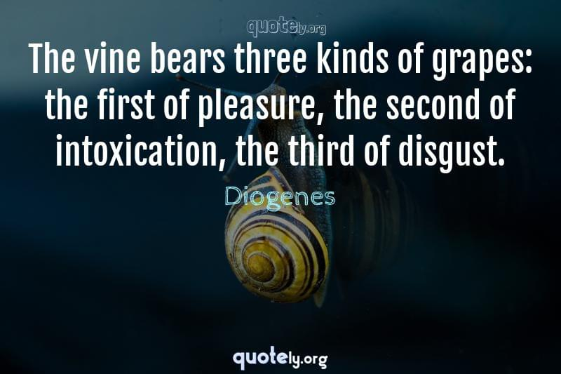 The vine bears three kinds of grapes: the first of pleasure, the second of intoxication, the third of disgust. by Diogenes
