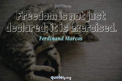 Photo Quote of Freedom is not just declared; it is exercised.