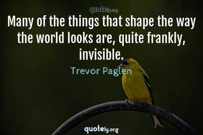 Photo Quote of Many of the things that shape the way the world looks are, quite frankly, invisible.