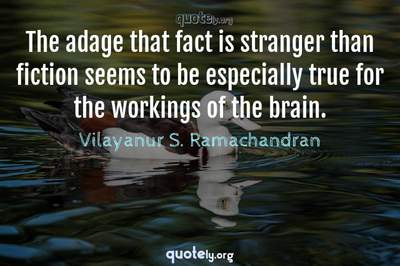 Photo Quote of The adage that fact is stranger than fiction seems to be especially true for the workings of the brain.