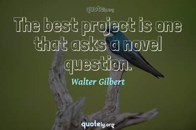 Photo Quote of The best project is one that asks a novel question.
