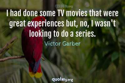 Photo Quote of I had done some TV movies that were great experiences but, no, I wasn't looking to do a series.