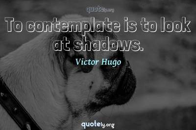 Photo Quote of To contemplate is to look at shadows.