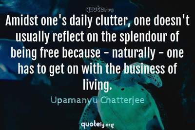 Photo Quote of Amidst one's daily clutter, one doesn't usually reflect on the splendour of being free because - naturally - one has to get on with the business of living.