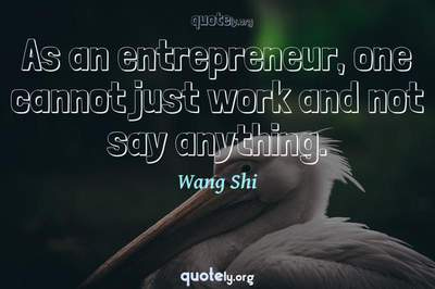 Photo Quote of As an entrepreneur, one cannot just work and not say anything.