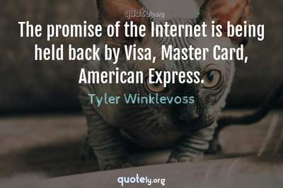 Photo Quote of The promise of the Internet is being held back by Visa, Master Card, American Express.