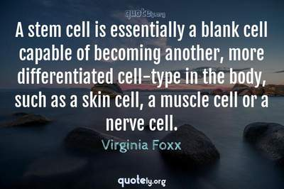 Photo Quote of A stem cell is essentially a blank cell capable of becoming another, more differentiated cell-type in the body, such as a skin cell, a muscle cell or a nerve cell.