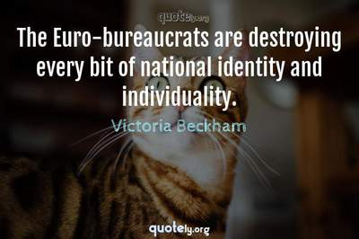 Photo Quote of The Euro-bureaucrats are destroying every bit of national identity and individuality.