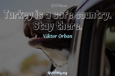 Photo Quote of Turkey is a safe country. Stay there.