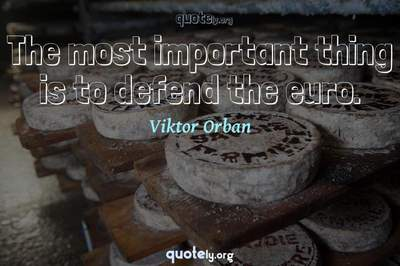 Photo Quote of The most important thing is to defend the euro.