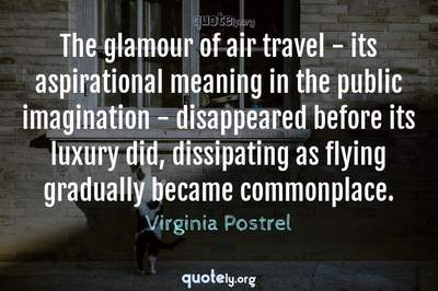Photo Quote of The glamour of air travel - its aspirational meaning in the public imagination - disappeared before its luxury did, dissipating as flying gradually became commonplace.