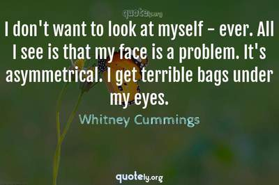 Photo Quote of I don't want to look at myself - ever. All I see is that my face is a problem. It's asymmetrical. I get terrible bags under my eyes.