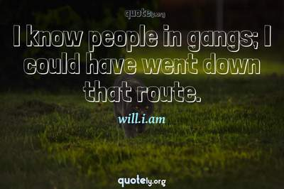 Photo Quote of I know people in gangs; I could have went down that route.