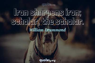 Photo Quote of Iron sharpens iron; scholar, the scholar.