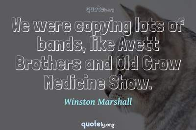 Photo Quote of We were copying lots of bands, like Avett Brothers and Old Crow Medicine Show.