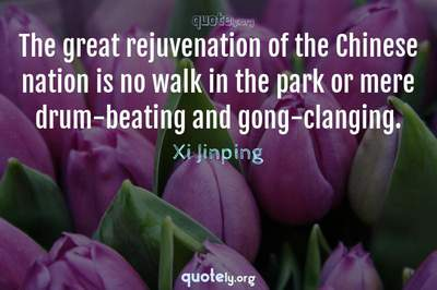 Photo Quote of The great rejuvenation of the Chinese nation is no walk in the park or mere drum-beating and gong-clanging.