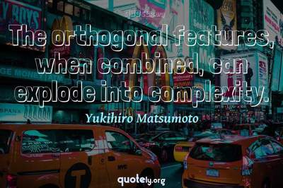 Photo Quote of The orthogonal features, when combined, can explode into complexity.