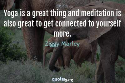 Photo Quote of Yoga is a great thing and meditation is also great to get connected to yourself more.