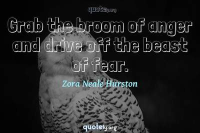 Photo Quote of Grab the broom of anger and drive off the beast of fear.