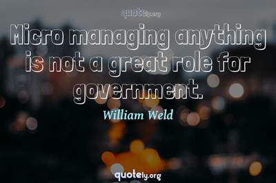 Photo Quote of Micro managing anything is not a great role for government.