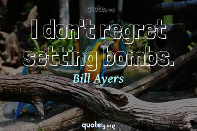 Photo Quote of I don't regret setting bombs.