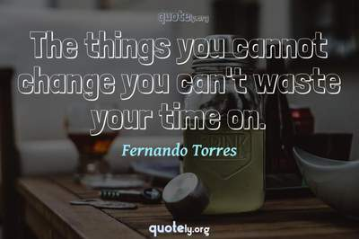 Photo Quote of The things you cannot change you can't waste your time on.