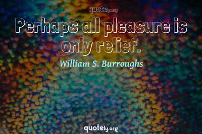 Photo Quote of Perhaps all pleasure is only relief.