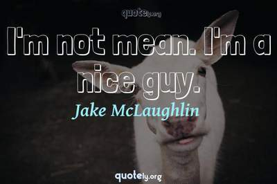 Photo Quote of I'm not mean. I'm a nice guy.