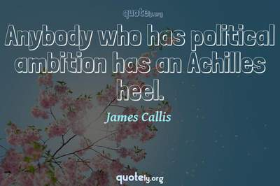 Photo Quote of Anybody who has political ambition has an Achilles heel.