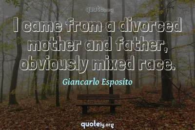 Photo Quote of I came from a divorced mother and father, obviously mixed race.