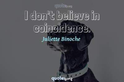Photo Quote of I don't believe in coincidence.