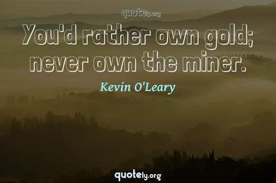 Photo Quote of You'd rather own gold; never own the miner.