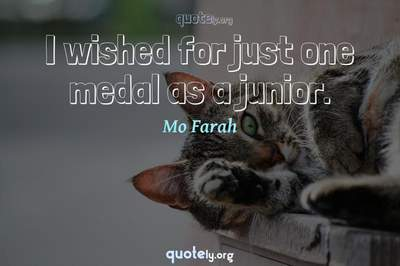 Photo Quote of I wished for just one medal as a junior.