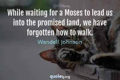 Photo Quote of While waiting for a Moses to lead us into the promised land, we have forgotten how to walk.