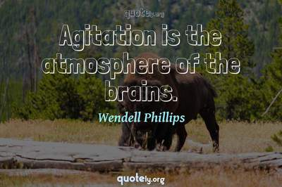 Photo Quote of Agitation is the atmosphere of the brains.
