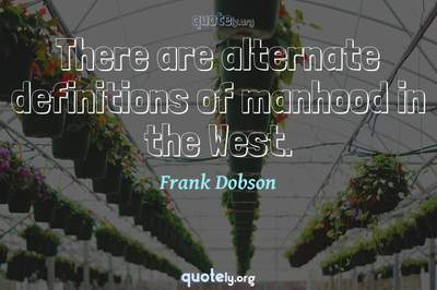 Photo Quote of There are alternate definitions of manhood in the West.