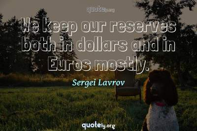 Photo Quote of We keep our reserves both in dollars and in Euros mostly.