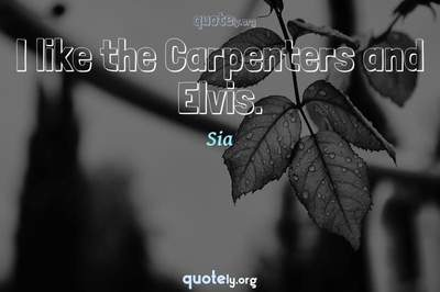 Photo Quote of I like the Carpenters and Elvis.