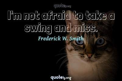 Photo Quote of I'm not afraid to take a swing and miss.