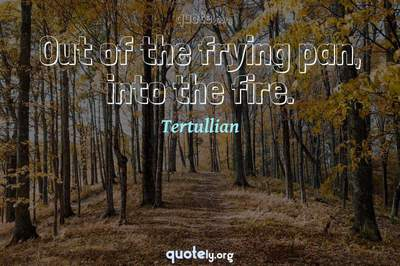 Photo Quote of Out of the frying pan, into the fire.