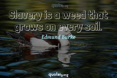 Photo Quote of Slavery is a weed that grows on every soil.