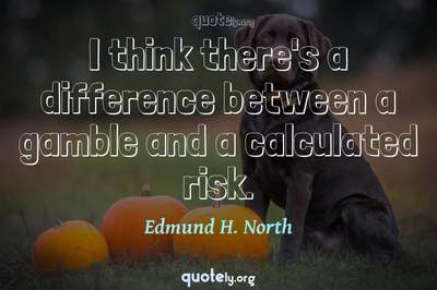 Photo Quote of I think there's a difference between a gamble and a calculated risk.
