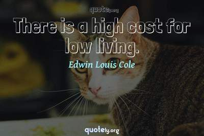 Photo Quote of There is a high cost for low living.