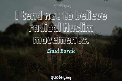 Photo Quote of I tend not to believe radical Muslim movements.