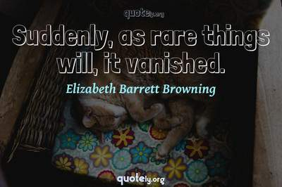 Photo Quote of Suddenly, as rare things will, it vanished.